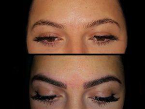 Vorher (oben) und nachher - Microblading verleiht verführerisch schöne Augenbrauen